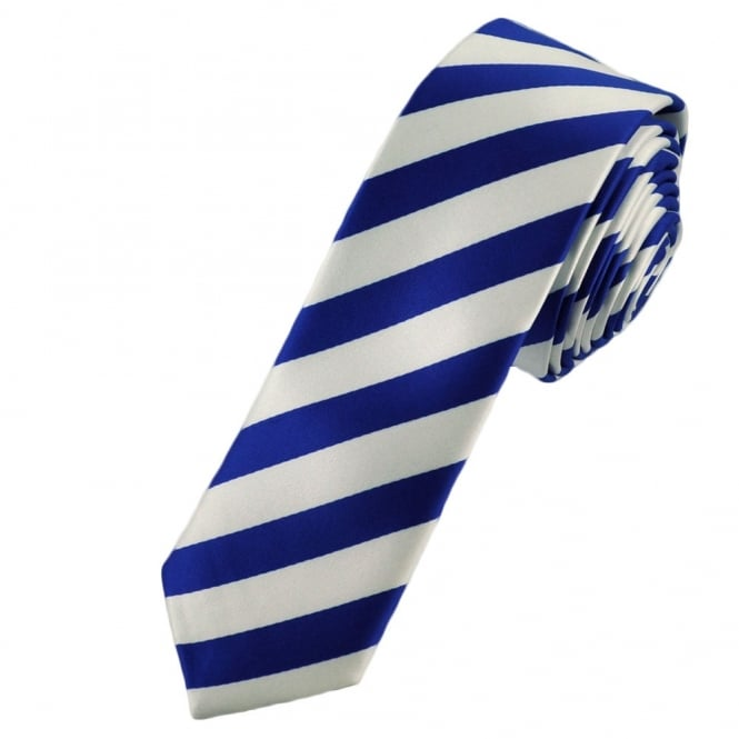 Royal Blue & White Thin Striped Skinny Tie