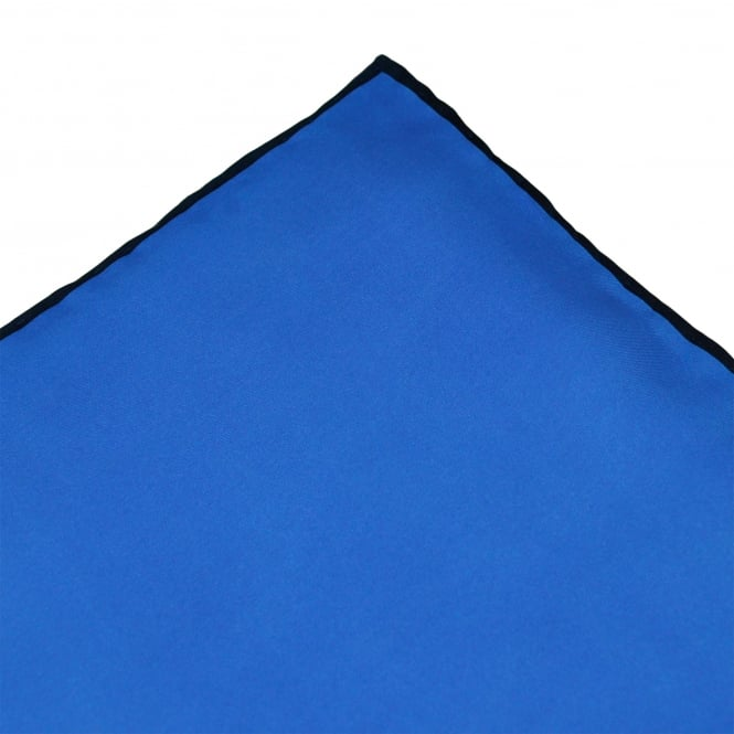 Royal Blue with Navy Trim Silk Pocket Square Handkerchief