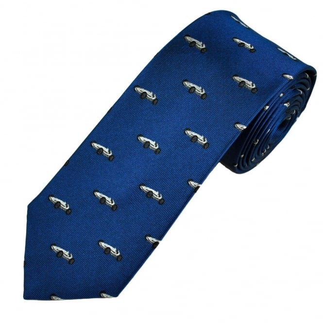 Royal Blue With Silver Racing Car Luxury Silk Narrow Men's Tie