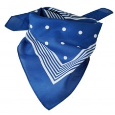 Royal Blue With White Stripes & Polka Dot Bandana Neckerchief