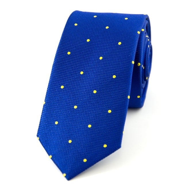 Royal Blue & Yellow Polka Dot Silk Skinny Tie
