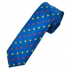 Royal Blue, Yellow & Red Polka Dot Men's Skinny Tie
