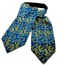Royal Blue, Yellow & Silver Paisley Patterned Casual Day Cravat