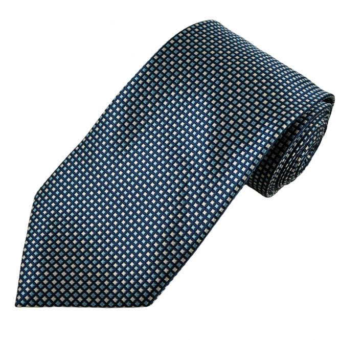 Royal, Sky Blue & Beige Patterned Men's Tie