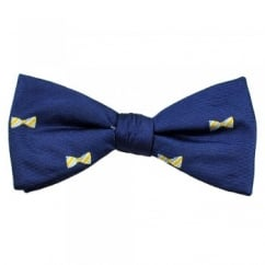 Royal, Yellow, Blue & Silver Dickie Bow Patterned Men's Silk Bow Tie
