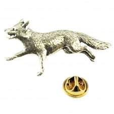 Running Fox English Pewter Lapel Pin Badge