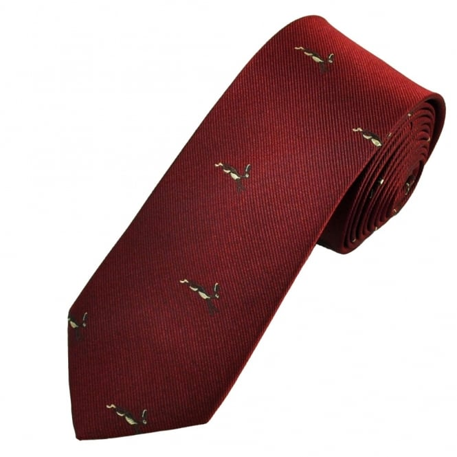 Running Hares Maroon Luxury Silk Narrow Country Tie