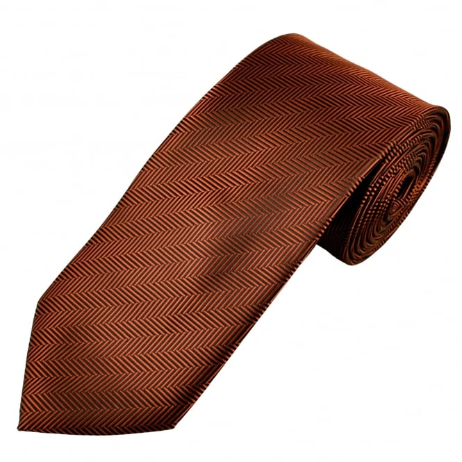 Rust Brown & Black Chevron Stripe Patterned Men's Tie