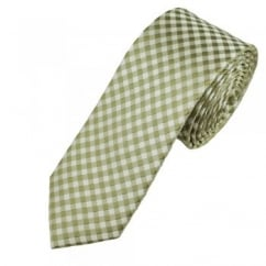 Sage Green & White Checked Men's Silk Narrow Tie