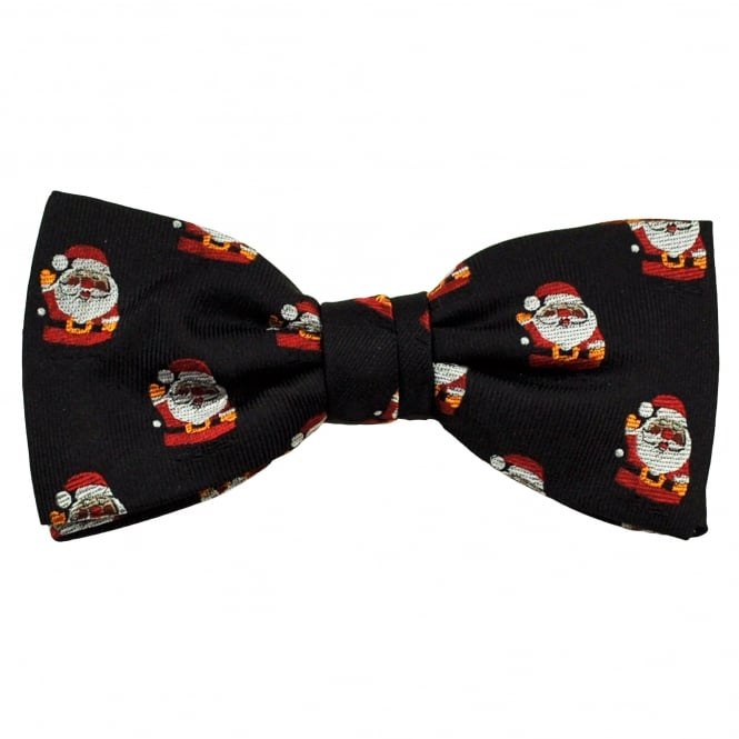 Santa Claus Black Luxury Silk Men's Christmas Bow Tie
