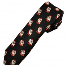 Santa Claus Black Luxury Silk Men's Skinny Christmas Tie