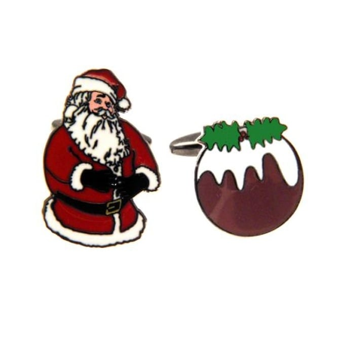 Santa Claus & Christmas Pudding Novelty Cufflinks