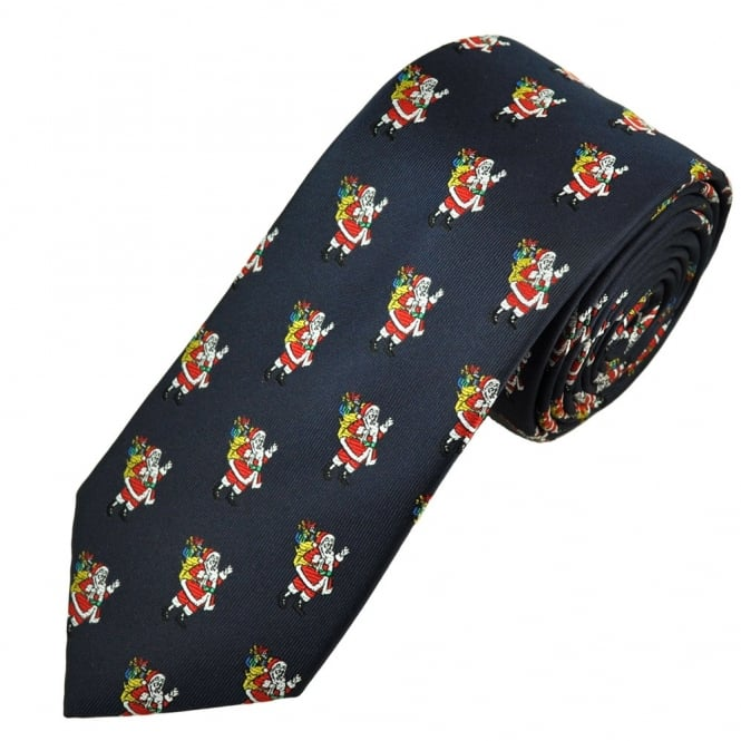 santa claus navy blue men s novelty christmas tie from ties planet uk