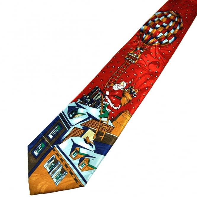 Santa Claus on Rooftop Novelty Christmas Tie