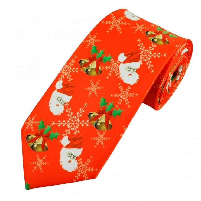 Ties & Bowties|Accessories Santa Claus, Snowflakes, Holly & Bells Red Novelty Christmas Tie