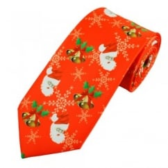 Santa Claus, Snowflakes, Holly & Bells Red Novelty Christmas Tie