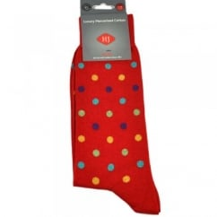 Scarlet Red & Multi Coloured Spots Men's Socks by HJ Hall. Size: 7-10 & 11-14
