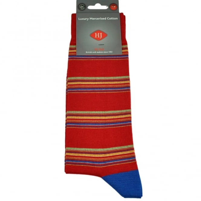 Scarlet Red Striped Men's Socks by HJ Hall Size: 7-10
