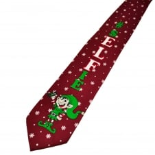#Selfie Elf Burgundy Men's Novelty Christmas Tie