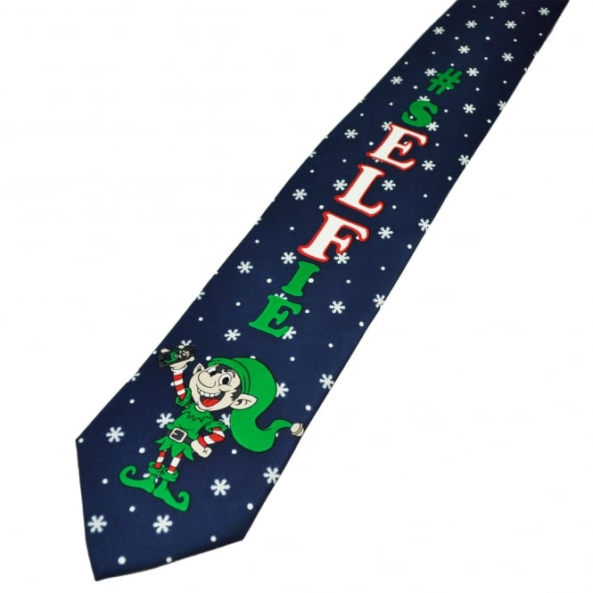 #Selfie Elf Navy Blue Men's Novelty Christmas Tie