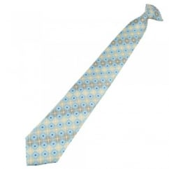 Shades of Beige & Blue Square Patterned Clip On Tie