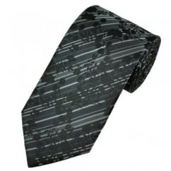 Shades of Black & Grey Floral Patterned Men's Tie