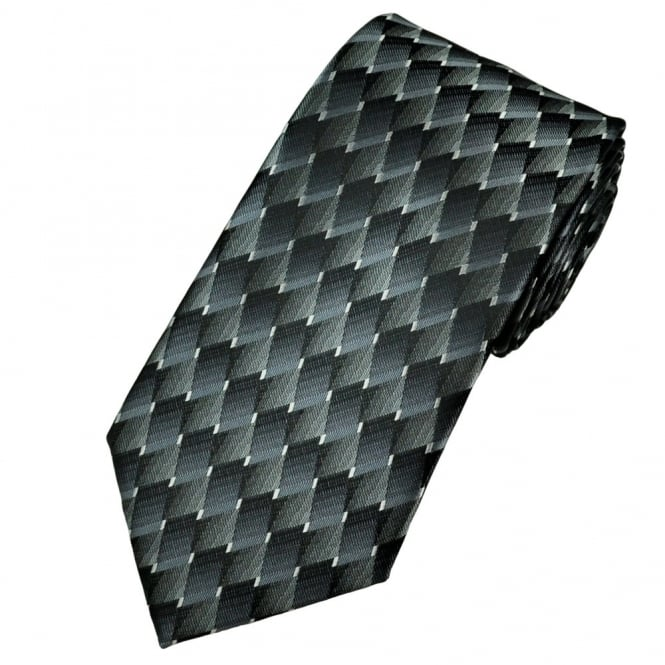 shades of black and silver grey diamond effect patterned tie