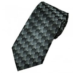Shades of Black & Silver Grey Diamond Effect Patterned Tie
