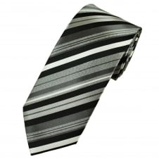 Shades Of Black, Silver & Grey Striped Men's Silk Tie