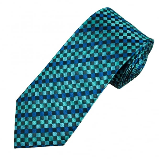 Shades Of Blue & Black Checked Men's Silk Tie