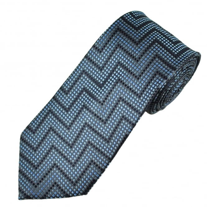 Shades Of Blue & Black Spotted Zig Zag Patterned Men's Silk Tie
