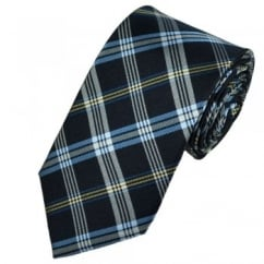 Shades of Blue & Gold Check Patterned Silk Tie