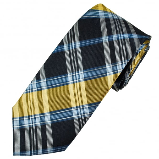 Shades Of Blue, Gold & White Checked Men's Silk Tie