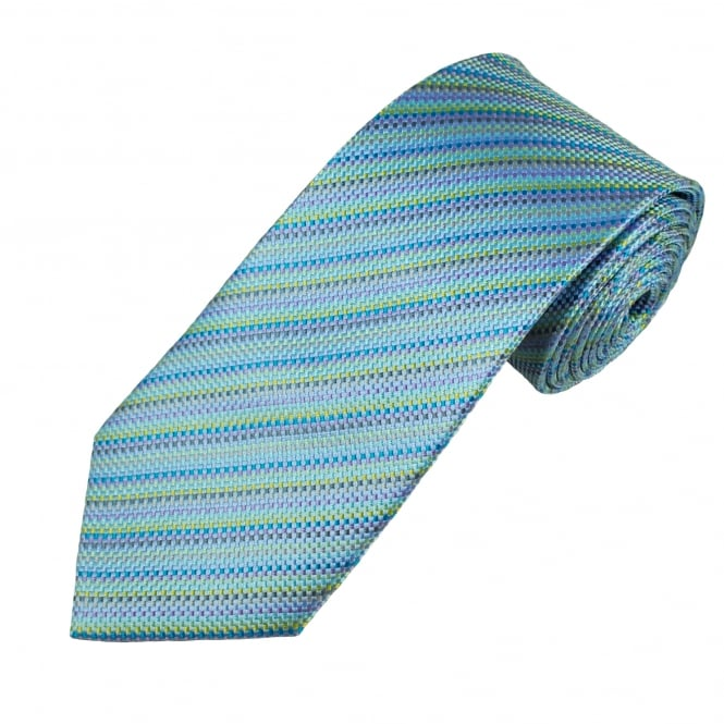 Shades Of Blue, Green & Purple Micro Checked Men's Silk Tie