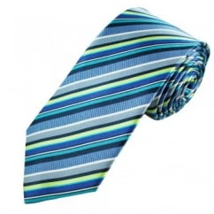 Shades of Blue, Green & White Striped Men's Silk Tie