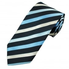 Shades of Blue & Ivory Striped Men's Tie