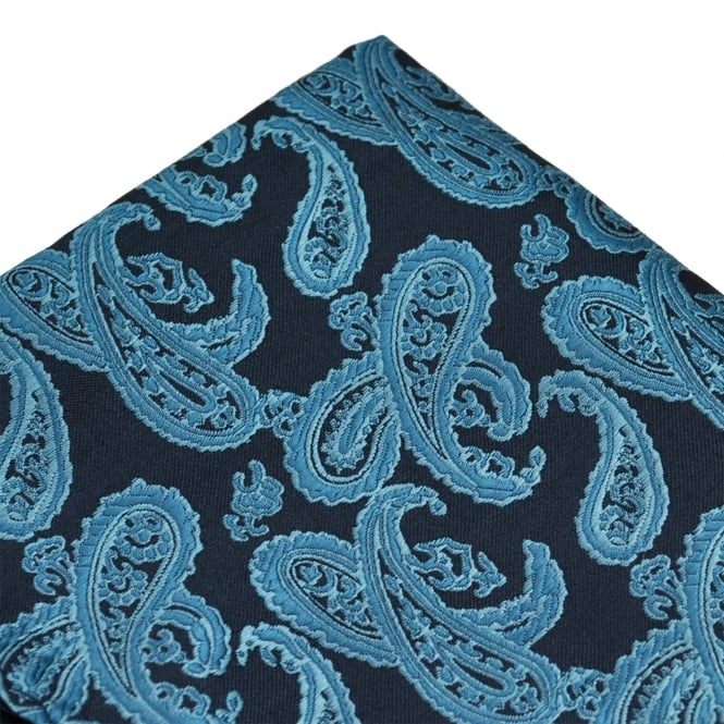 Shades Of Blue Paisley Patterned Pocket Square Handkerchief