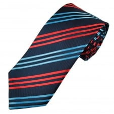 Shades of Blue & Red Striped Men's Tie