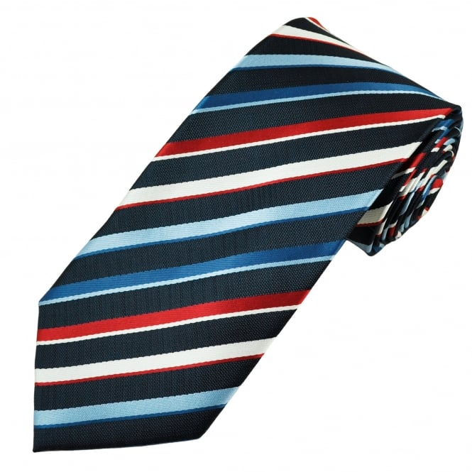 Shades of Blue, Red & White Striped Men's Tie