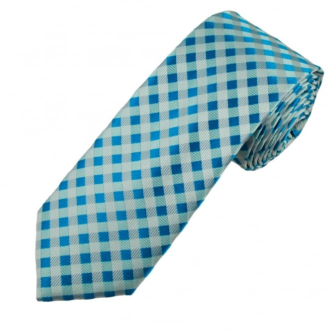 Shades of Blue & Silver Checked Luxury Narrow Silk Tie