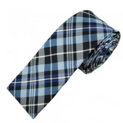 Shades of Blue & Silver Checked Square End Silk Skinny Tie