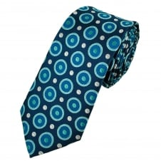 Shades Of Blue & Silver Circles Patterned Men's Tie