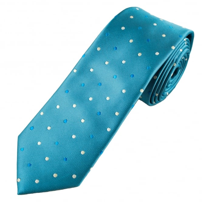 Shades of Blue, Silver & Gold Polka Dot Men's Skinny Tie