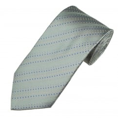 Shades Of Blue & Silver Spots & Stripes Men's Silk Tie