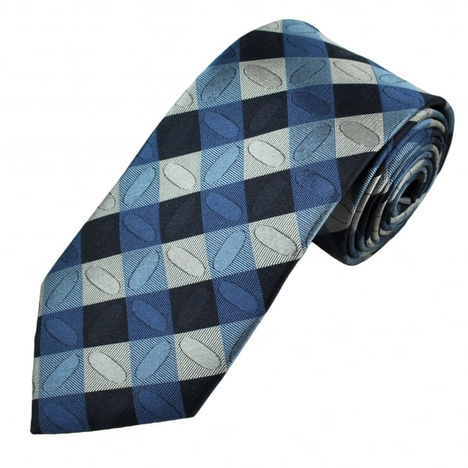 Shades Of Blue & Silver Square Patterned Men's Silk Tie
