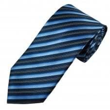 Shades of Blue & Silver Stripes Men's Tie