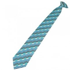 Shades of Blue, Silver & Turquoise Patterned Clip On Tie