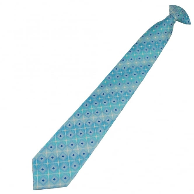 Shades of Blue Square Patterned Clip On Tie