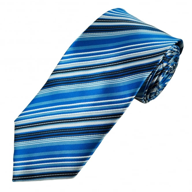 Shades of Blue, White & Grey Striped Men's Tie