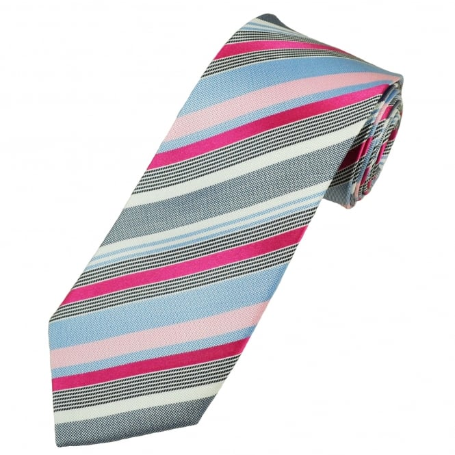 Shades Of Blue, White & Pink Striped Men's Silk Tie